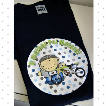 T-shirt adulto dia do pai modelo motard